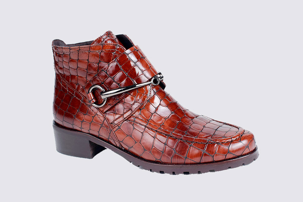 croc leather boots