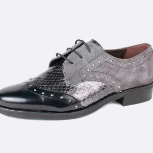 Small Size Oxford flat shoes grey and black