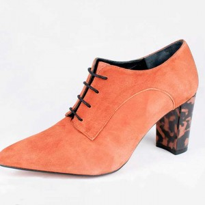 Small size suede boot brandy heel